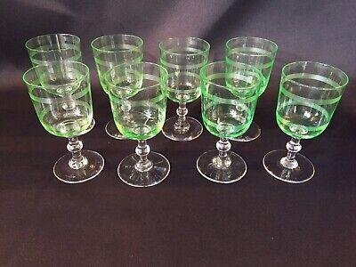 Baccarat 1916 * 6 verres à vin en cristal ouraline forme cylindrique / filets