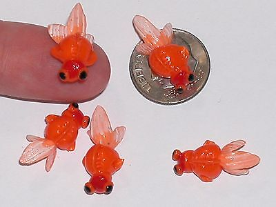 1Pc Miniature dollhouse tiny Little Gold Fish Rare mini ocean charm finding