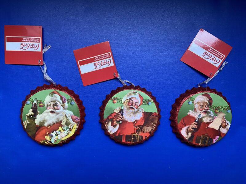 Coca-Cola Santa Bottle Cap Ornament 3 Set New Christmas Decor