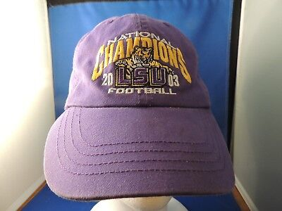 Trucker Cloth Buckle LSU 2003 National Champions Logo Cap Hat  EUC Purple Gold