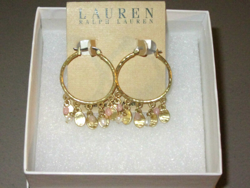 NWT Ralph Lauren Hoop Fringe Earrings Gold Pearls Pink Gift Box NEW Cat Shelter