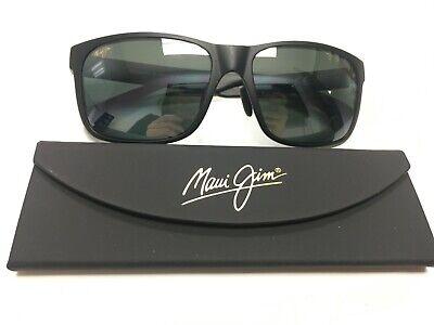 Maui Jim Red Sands Mens Rectangular Polarized Sunglasses MJ432-2M Black