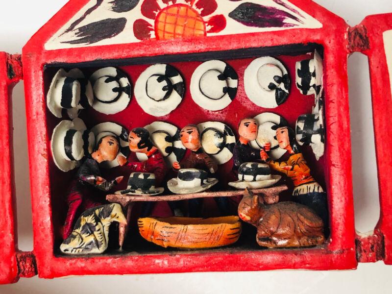 Signed Peruvian Retablo Folk Art Nicario Jimenez Q Artist Of Andes Hat Shop VTG