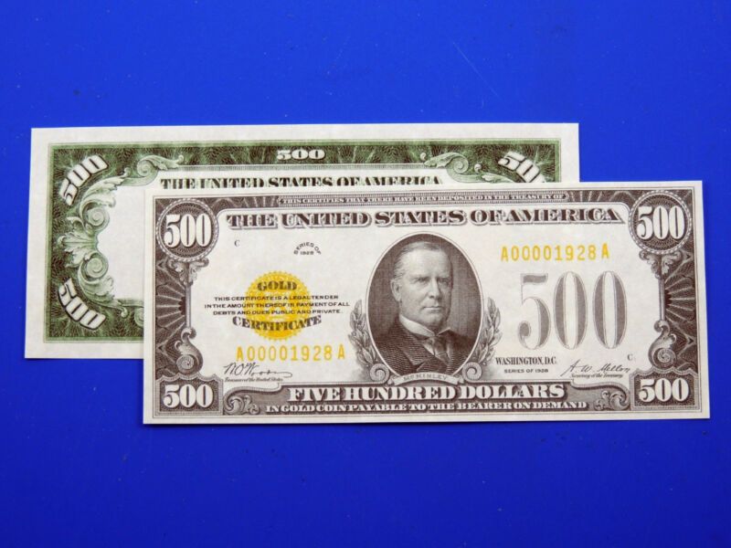 Reproduction $500 1928 Gold US Paper Money Currency Copy