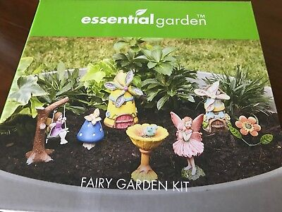 (Fairy Garden Kit~ FAIRIES SWING BIRDBATH~ 7 Pc Figure Set)