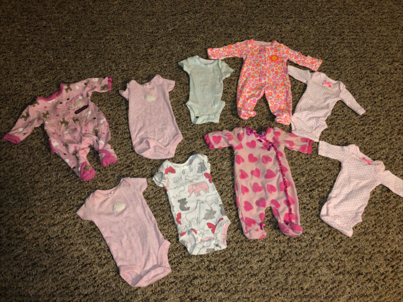 Lot of Carters Preemie Baby Girl Button Up Pajamas Shirts Pink