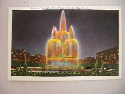 VINTAGE POSTCARD THE ELECTRIC FOUNTAIN, PARK PLACE, ATLANTIC CITY, NEW JERSEY