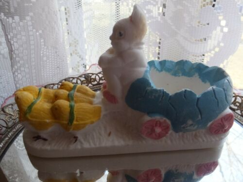 Vintage Chalkware Chalk Ware Easter Bunny Egg Cart Drawn by Five Baby Chicks