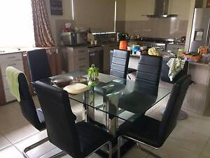Glass top dining table with 6 Chairs Doonside Blacktown Area Preview