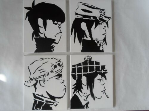 Gorillaz Painted Canvas Wall Hangings / Wall Art - Set of 4