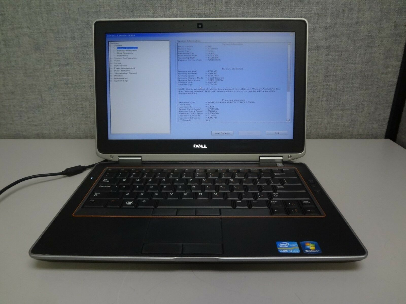 "Dell E6320 13.3"" Core i7 2.7GHz 4GB/160GB Webcam Linux Laptop ""No Battery"" + AC"