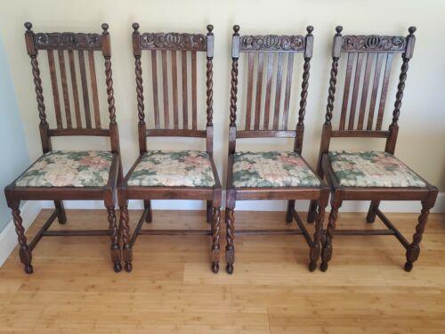 Set of 4 Ornate English Barley Twist Solid Oak Wood Chairs
