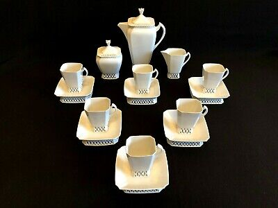 HEREND PORCELAIN EXTRA RARE WHITE COFFEE SET FOR 6 PERSON (17pcs.)