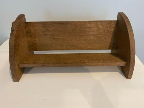 "Vintage Robert Thompson ""Mouseman"" Oak Table Top Shelf"