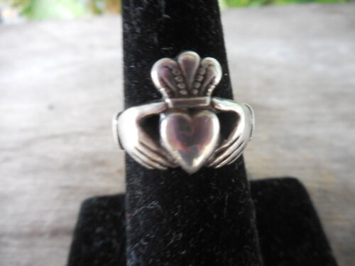 Vintage Sterling Claddagh Irish Celtic Ring Size 5 1/4 Heart Hands Crown