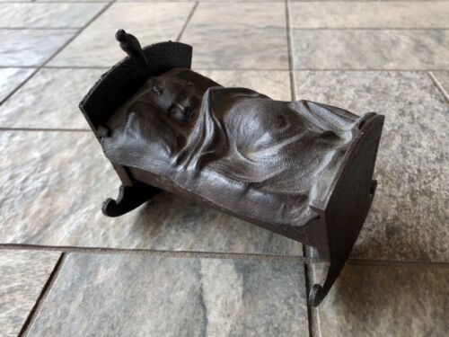 Vintage Cast Iron Rocking Sleeping Baby In Cradle Coin Bank