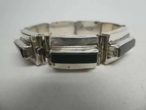 "Vintage Mexico Signed De Rio Black Onyx Hinged & Linked Bracelet Size 6.75"""