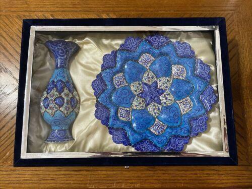 Persian Minakari Copper Plate & Vase Hand Painted NEW in Glass & Velvet Box