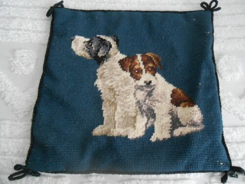 """Beautiful Vintage Needlepoint Terrier Navy Blue Pillow Cover, 12 1/2"""" by 12"""""""