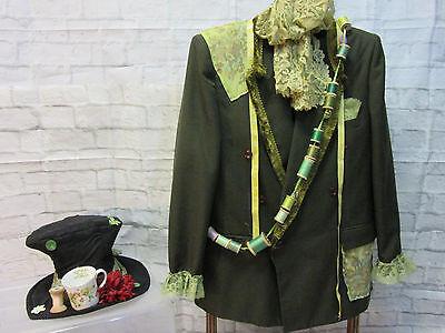 MENS green MAD HATTER jacket coat hat size XL Alice in Wonderland unique OOAK - Unique Male Costumes