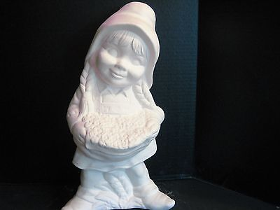 "04 Ceramic Bisque Large Girl  Garden Gnome 16 1/2"" tall U Paint"