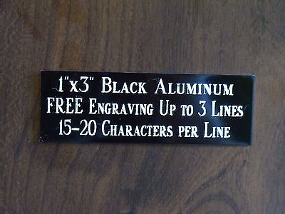 1x3 Black Name Plate Art-trophies-gift-taxidermy-flag Case Free Engraved