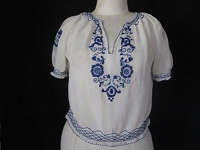 Vintage Hungarian Peasant Blouse Sheer Hand Embroidered Sz S