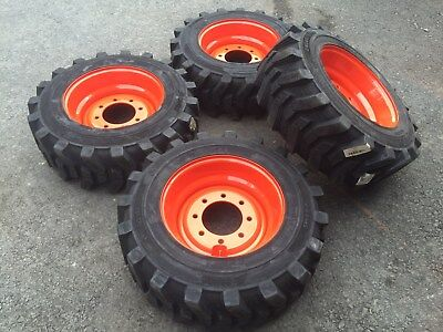 Photo 4-10X16.5 HD FOAM FILLED Skid Steer Tires-Wheels/Rims for Bobcat-10-16.5-no flat