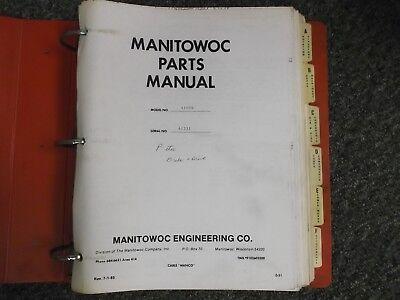 Manitowoc 4100w Crawler Lattice Boom Crane Factory Parts Catalog Manual