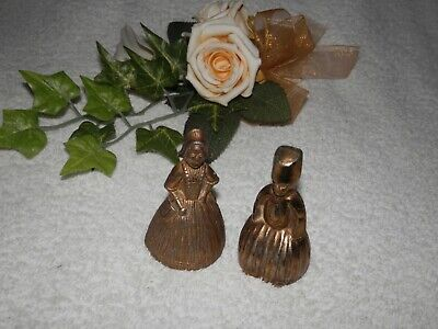 Two Small Figurine Brass Bells - Working With Lovely Ring