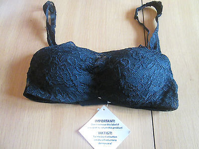 Cellbes of Sweden black slight padding wired lace overlay bra size 32B
