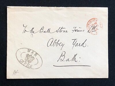 Postal History England, Postal Cover WAR OFFICE in LONDON to BATH dated 1902