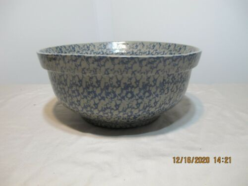 Rare beaumont bros Pottery 1994 Gray Blue Stoneware Spongeware XL Bowl 11 x 5