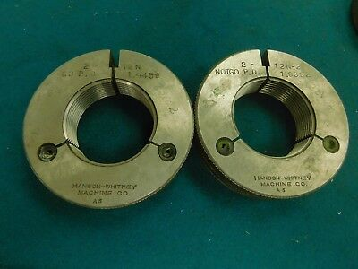 Hanson Whitney Go And No Go Thread Ring Gage Set 2.0-12 N-2