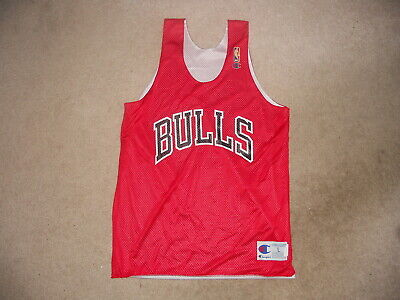 Chicago Bulls Vintage Throwback Champion Basketball Jersey Reversible Practice L