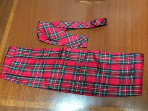 Brooks Brothers 100% Silk Red Tartan Plaid Bow Tie & Cummerbund Set