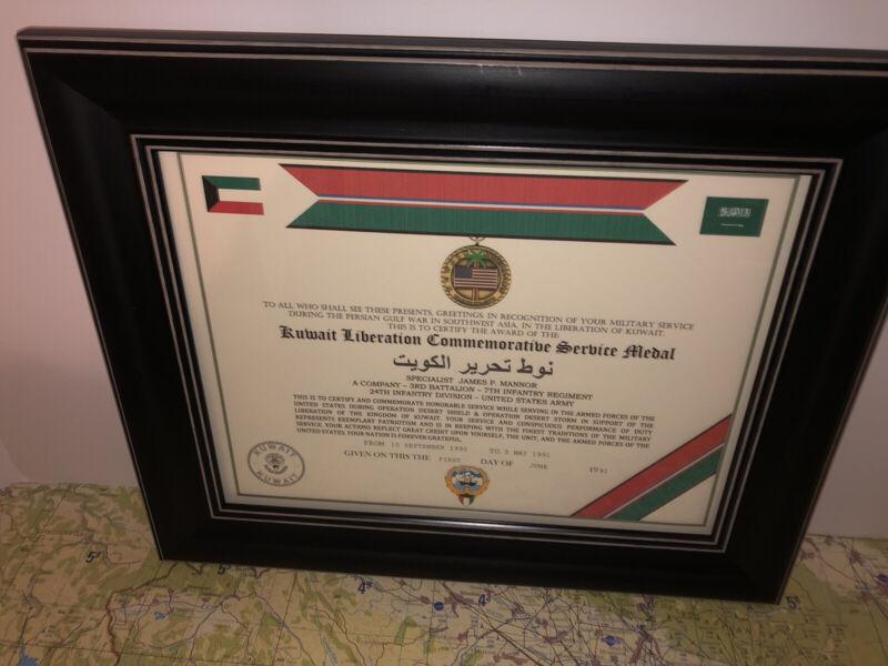 KUWAIT LIBERATION COMMEMORATIVE SERVICE MEDAL CERTIFICATE ~Type 1