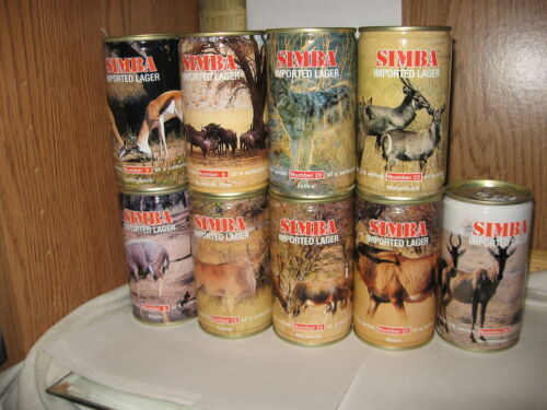 Simba Imported Lager Swaziland 11.5 oz beer cans # 9 - 22 - 23 - 28 your choice