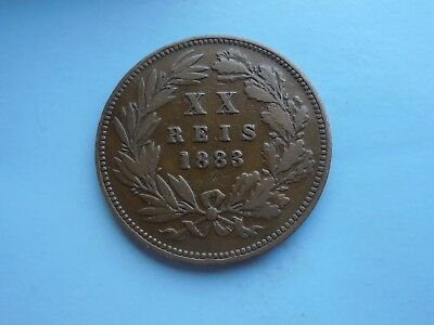 Portugal, 20 Reis 1883, Bronze, scarce, Good Condition.