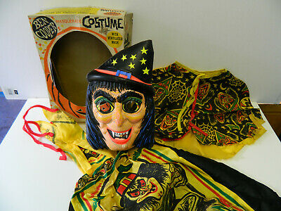 Vintage Ben Cooper Witch Halloween Costume in Box - Complete Set - 1970s