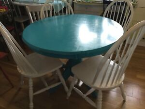 Blue dining table with 4 chairs