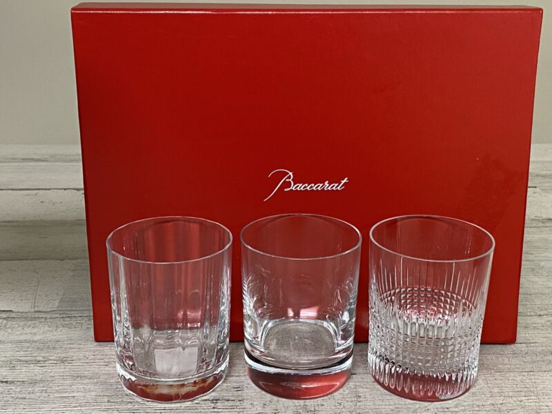 BACCARAT CRYSTAL ELEMENTS TUMBLER SET OF 3 GLASSES NEW OPEN BOX