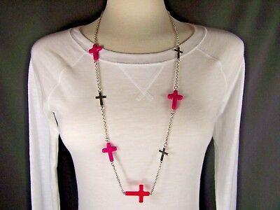 Fuchsia Magenta Pink Silver tone cross 34