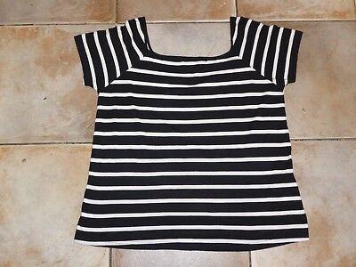 Ladies H&M MAMA Maternity Black/White Striped Top XL (UK 16-18)