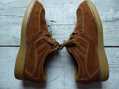 Iron Age Men's Steel Toe Work Shoes Oil Resistant Brown Suede Oxfords Size 6.5 W
