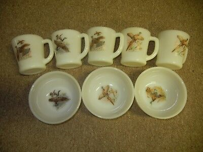 Oven Fire King Ware Game Birds 5 Mugs 3 Bowls