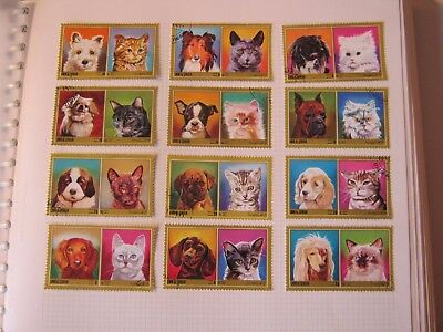 UMM AL QIWAIN 1972 CATS & DOGS SET of 12 USED