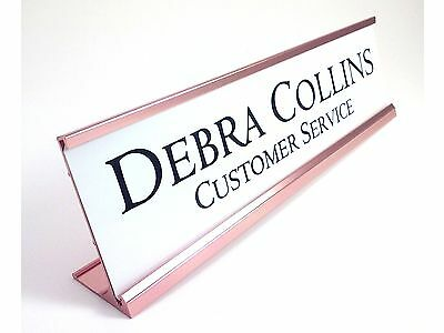 Desk Name Plate Gloss White With Gold Color Aluminum Holder 2 X 8 Personalized