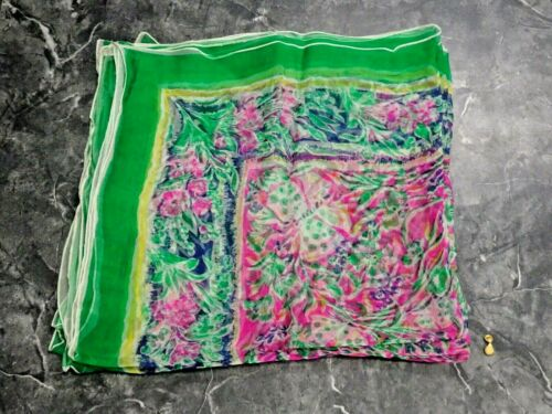 Vintage Made in Italy Seta Pura Pure Silk Sheer Chiffon Scarf Green Floral #18