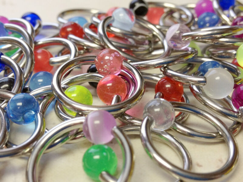 C#24 - 50pcs UV, Glow, Glitter Captive Bead Rings 14g Wholesale CBR Body Jewelry